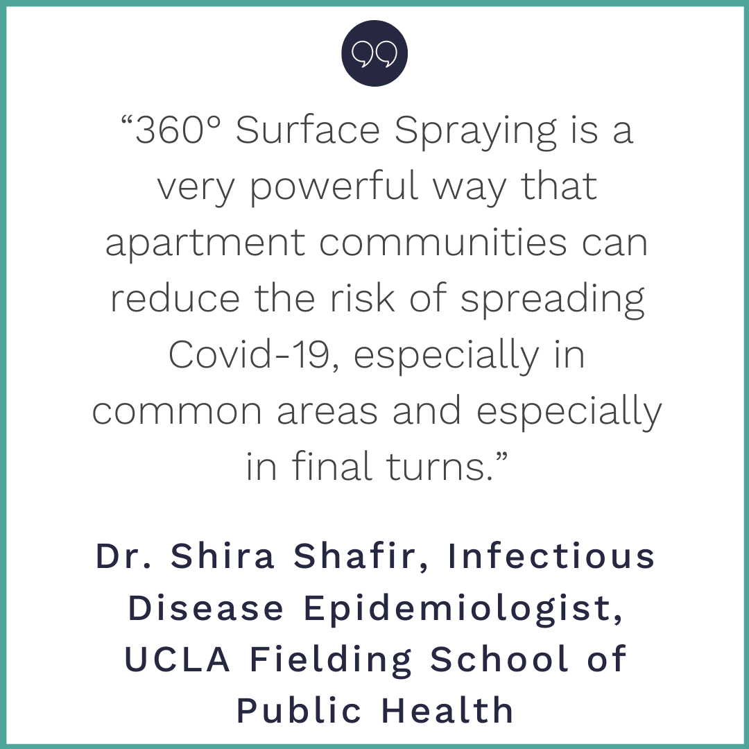"""Copy of """"360° Surface Spraying is a very powerful way that apartment communities can reduce the risk of spreading Covid-19, especially in common areas and especially in final turns."""" (1)"""